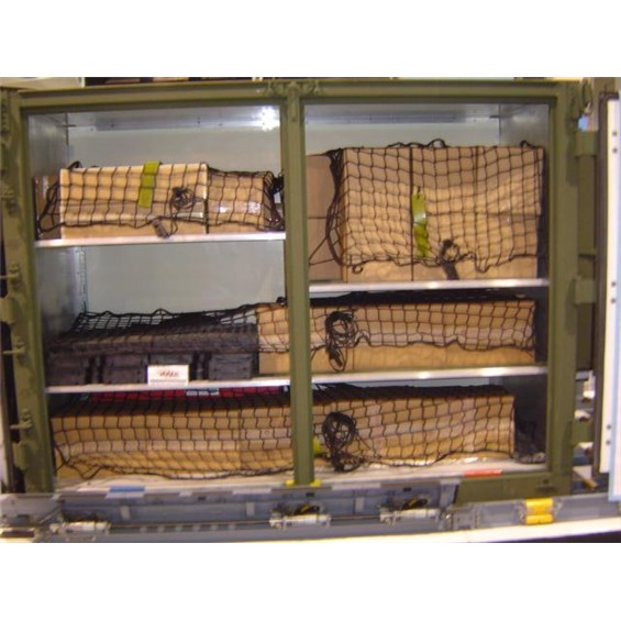 Cargo Restraint Nets holding down cargo in an ISU<sup>&reg;</sup> container