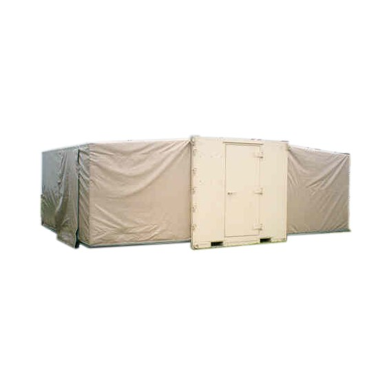 Expandable Light Air Mobile Shelter (ELAMS) in tan