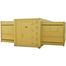 20' ISO 3-in-1 Expandable Shelter in tan with mechanical room