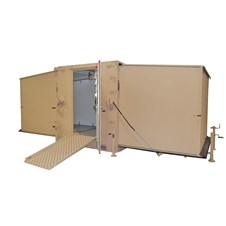 Hardside Expandable Small Air Mobile Shelter (HESAMS) in tan