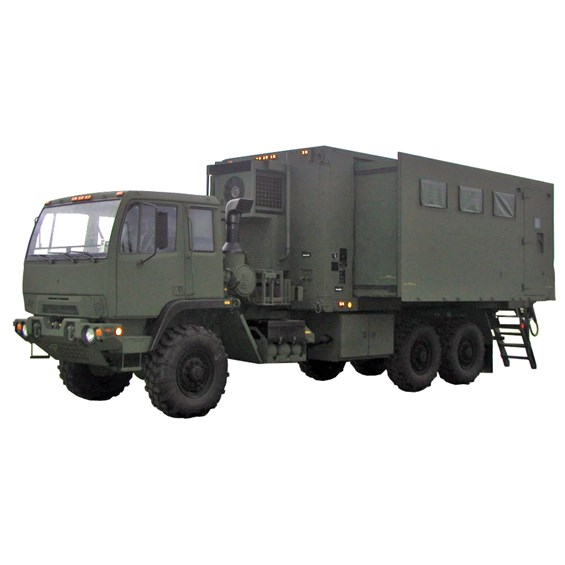 Expansable Shop Van Shelter (EVAN) mounted on FMTV in green