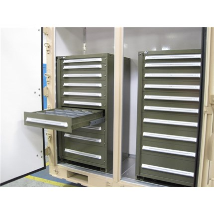 Dive Locker in ISU 90 3-Door with Two 10-Drawer Vidmar Cabinets