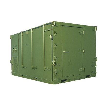 Expandable Mobility Shop Container (EMSC) in stowed position