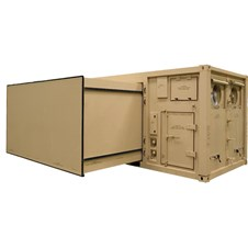 20' ISO 2-in-1 Expandable Shelter in tan with mechanical room